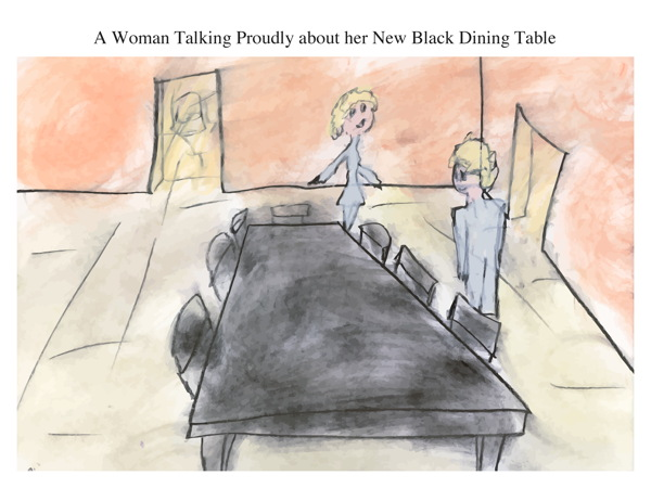 A Woman Talking Proudly about her New Black Dining Table