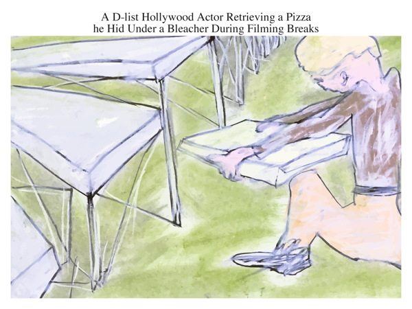 A D-list Hollywood Actor Retrieving a Pizza he Hid Under a Bleacher During Filming Breaks