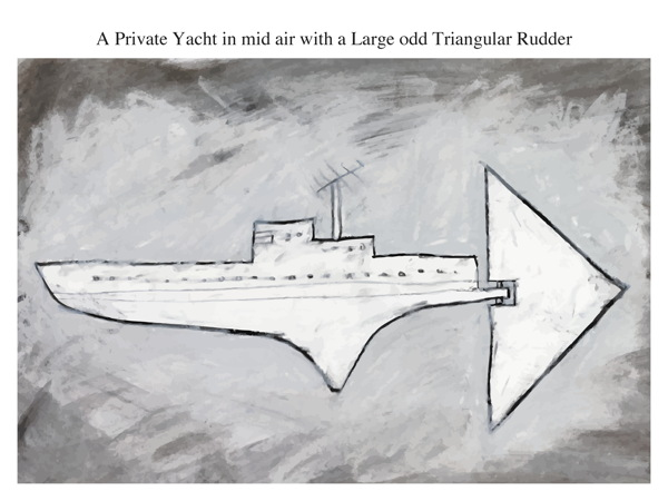 A Private Yacht in mid air with a Large odd Triangular Rudder