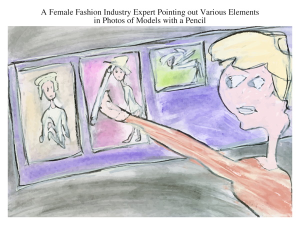 A Female Fashion Industry Expert Pointing out Various Elements in Photos of Models with a Pencil