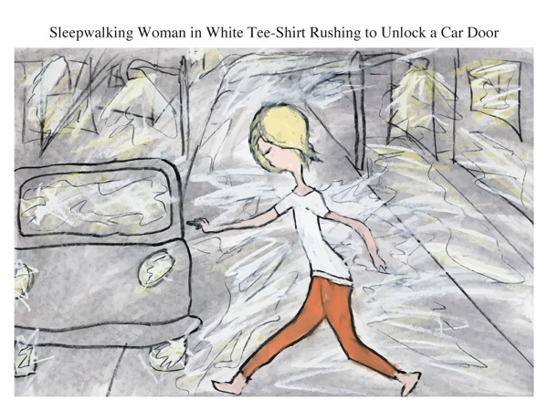 Sleepwalking Woman in White Tee-Shirt Rushing to Unlock a Car Door