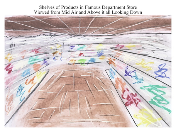 Shelves of Products in Famous Department Store Viewed from Mid Air and Above it all Looking Down