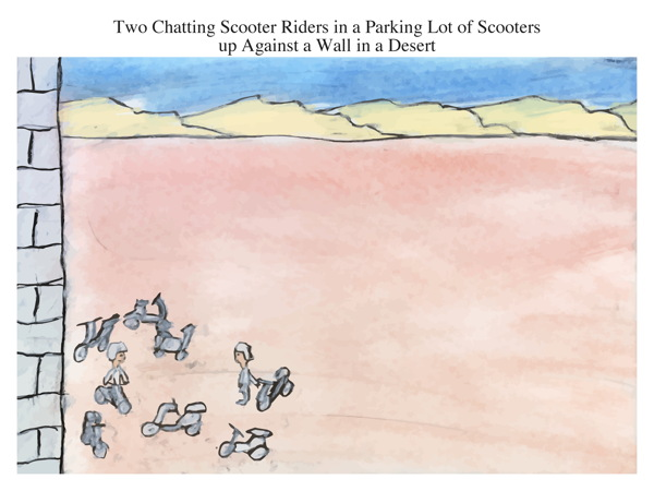 Two Chatting Scooter Riders in a Parking Lot of Scooters up Against a Wall in a Desert
