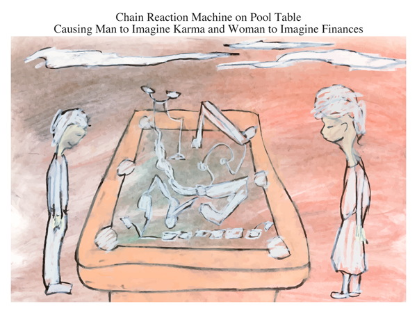 Chain Reaction Machine on Pool Table Causing Man to Imagine Karma and Woman to Imagine Finances