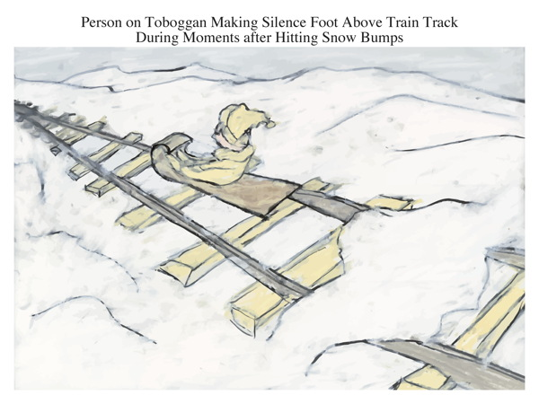 Person on Toboggan Making Silence Foot Above Train Track During Moments after Hitting Snow Bumps