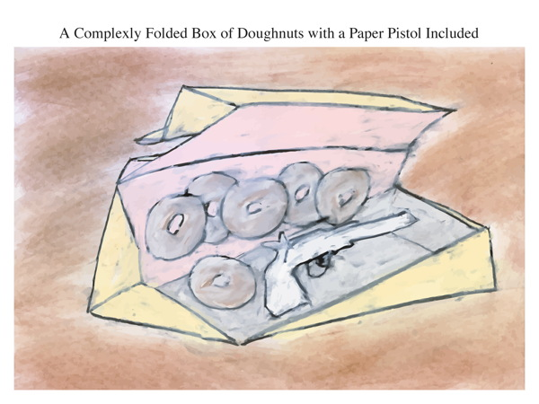 A Complexly Folded Box of Doughnuts with a Paper Pistol Included
