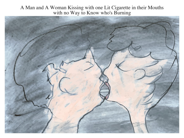 A Man and A Woman Kissing with one Lit Cigarette in their Mouths with no Way to Know who's Burning