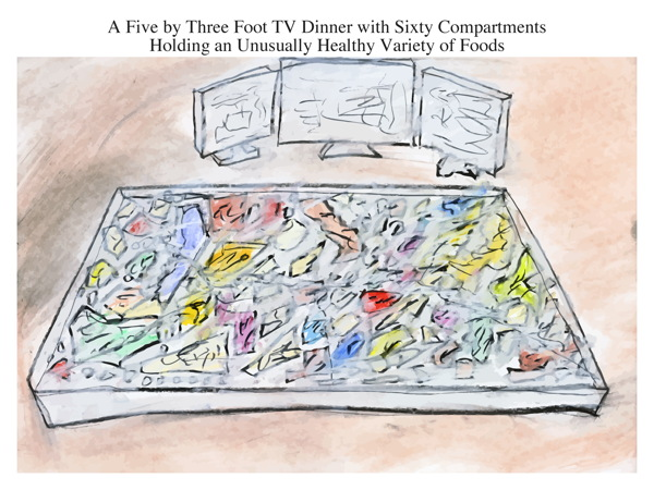 A Five by Three Foot TV Dinner with Sixty Compartments Holding an Unusually Healthy Variety of Foods