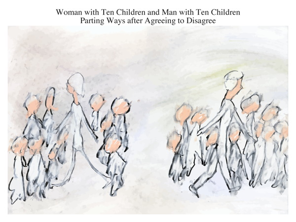Woman with Ten Children and Man with Ten Children Parting Ways after Agreeing to Disagree