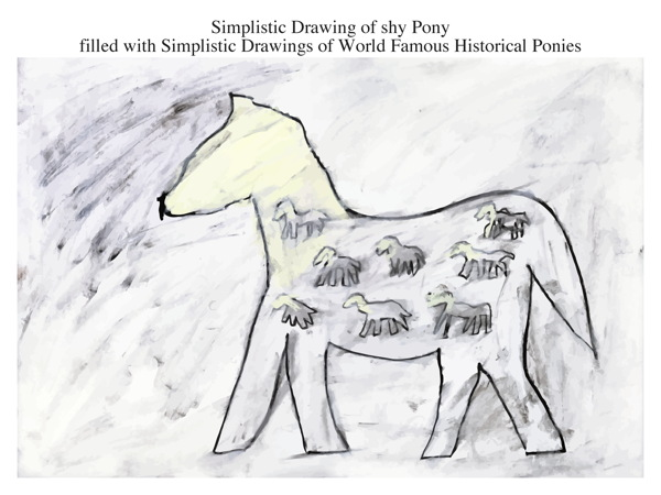 Simplistic Drawing of shy Pony filled with Simplistic Drawings of World Famous Historical Ponies