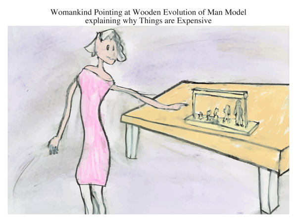 Womankind Pointing at Wooden Evolution of Man Model explaining why Things are Expensive