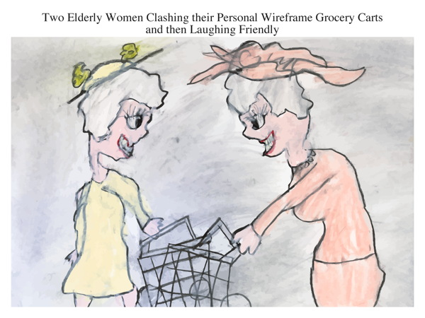Two Elderly Women Clashing their Personal Wireframe Grocery Carts and then Laughing Friendly