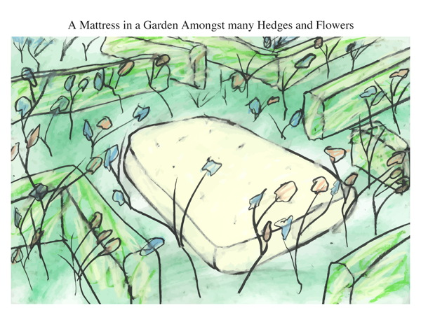 A Mattress in a Garden Amongst many Hedges and Flowers