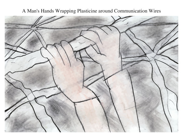 A Man's Hands Wrapping Plasticine around Communication Wires