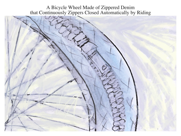 A Bicycle Wheel Made of Zippered Denim that Continuously Zippers Closed Automatically by Riding
