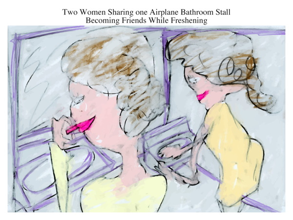 Two Women Sharing one Airplane Bathroom Stall Becoming Friends While Freshening