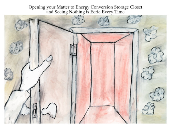 Opening your Matter to Energy Conversion Storage Closet and Seeing Nothing is Eerie Every Time