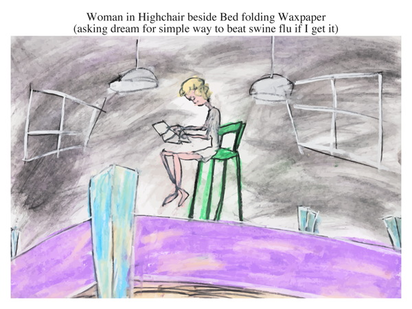 Woman in Highchair beside Bed folding Waxpaper (asking dream for simple way to beat swine flu if I get it)
