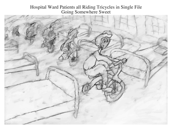 Hospital Ward Patients all Riding Tricycles in Single File Going Somewhere Sweet