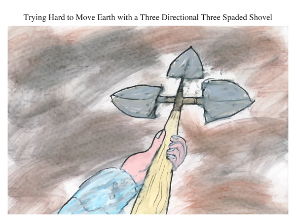 Trying Hard to Move Earth with a Three Directional Three Spaded Shovel