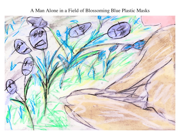 A Man Alone in a Field of Blossoming Blue Plastic Masks