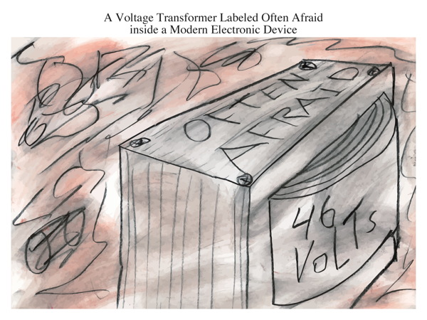 A Voltage Transformer Labeled Often Afraid inside a Modern Electronic Device