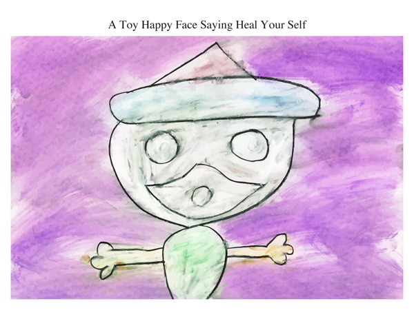 A Toy Happy Face Saying Heal Your Self