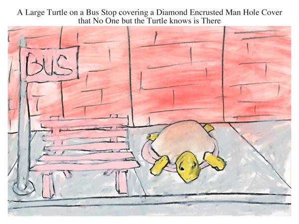 A Large Turtle on a Bus Stop covering a Diamond Encrusted Man Hole Cover that No One but the Turtle knows is There