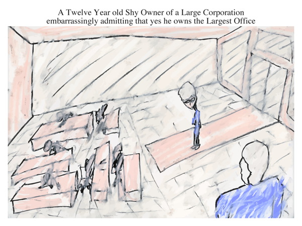 A Twelve Year old Shy Owner of a Large Corporation embarrassingly admitting that yes he owns the Largest Office