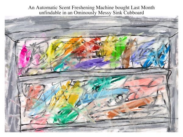 An Automatic Scent Freshening Machine bought Last Month unfindable in an Ominously Messy Sink Cubboard
