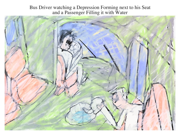 Bus Driver watching a Depression Forming next to his Seat and a Passenger Filling it with Water