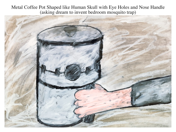 Metal Coffee Pot Shaped like Human Skull with Eye Holes and Nose Handle (asking dream to invent bedroom mosquito trap)
