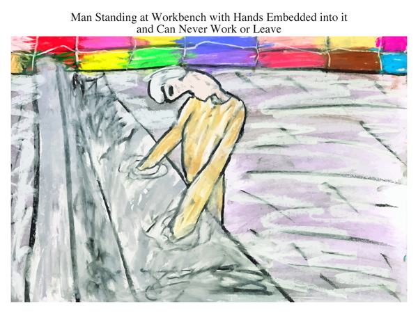 Man Standing at Workbench with Hands Embedded into it and Can Never Work or Leave