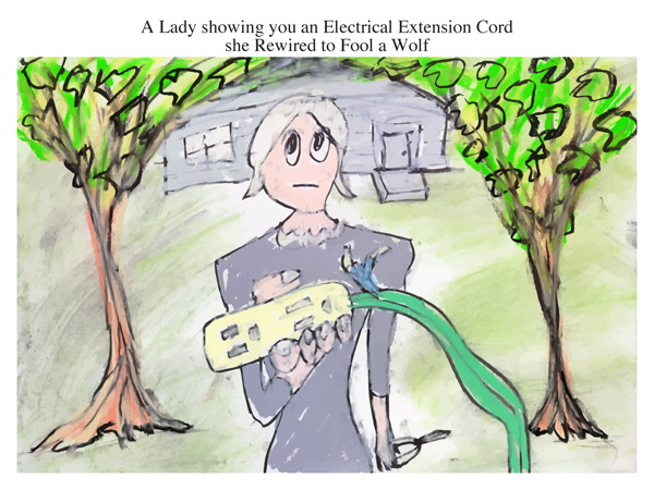 A Lady showing you an Electrical Extension Cord she Rewired to Fool a Wolf
