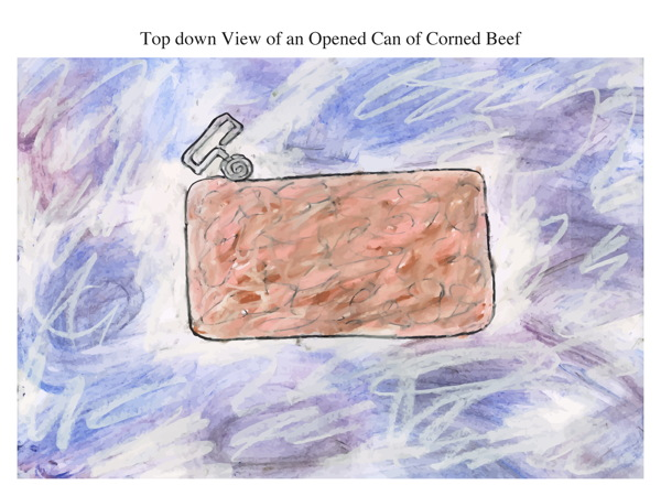 Top down View of an Opened Can of Corned Beef