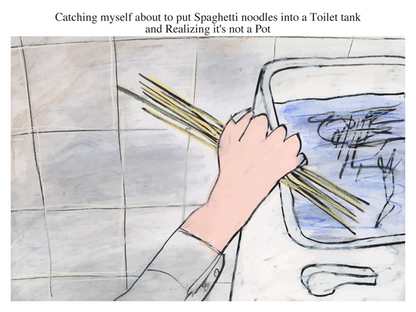 Catching myself about to put Spaghetti noodles into a Toilet tank and Realizing it's not a Pot