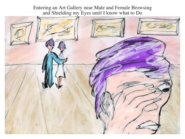 Entering an Art Gallery near Male and Female Browsing and Shielding my Eyes until I know what to Do