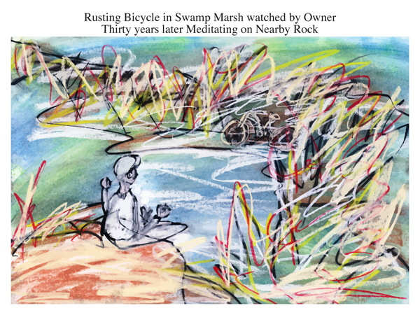 Rusting Bicycle in Swamp Marsh watched by Owner Thirty years later Meditating on Nearby Rock