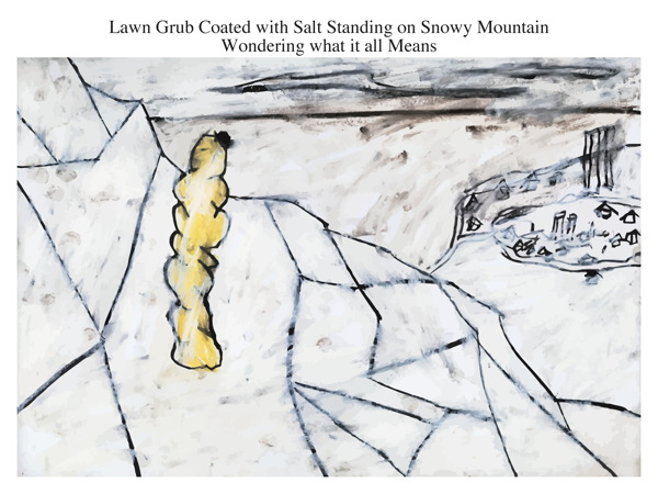 Lawn Grub Coated with Salt Standing on Snowy Mountain Wondering what it all Means