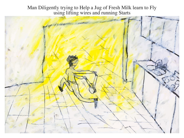 Man Diligently trying to Help a Jug of Fresh Milk learn to Fly using lifting wires and running Starts