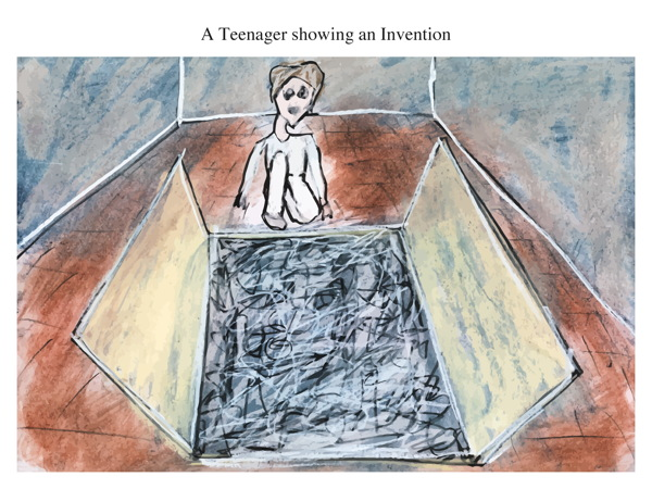 A Teenager showing an Invention