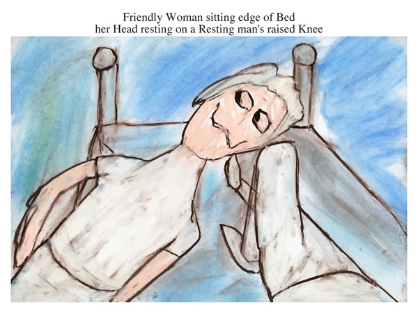 Friendly Woman sitting edge of Bed her Head resting on a Resting man's raised Knee