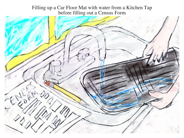 Filling up a Car Floor Mat with water from a Kitchen Tap before filling out a Census Form