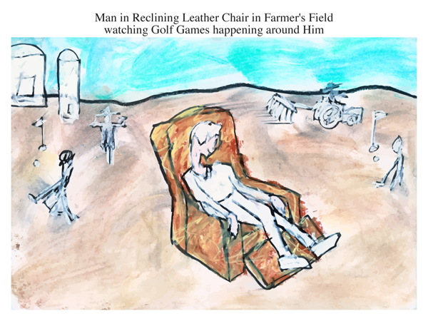 Man in Reclining Leather Chair in Farmer's Field watching Golf Games happening around Him
