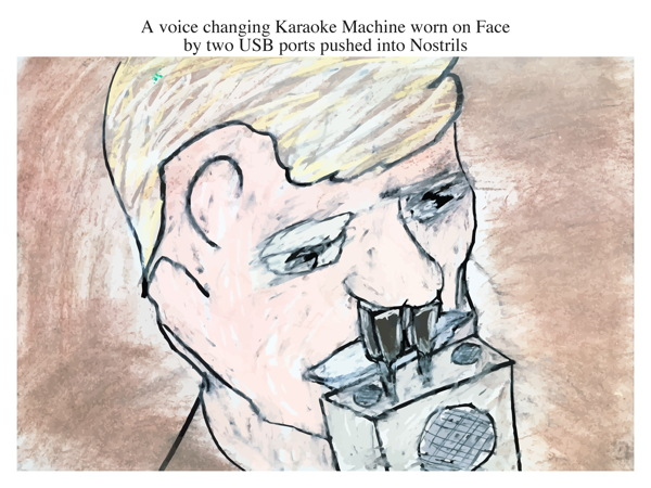 A voice changing Karaoke Machine worn on Face by two USB ports pushed into Nostrils