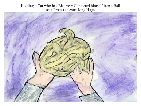 Holding a Cat who has Bizarrely Contorted himself into a Ball as a Protest to extra long Hugs
