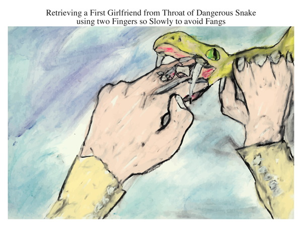 Retrieving a First Girlfriend from Throat of Dangerous Snake using two Fingers so Slowly to avoid Fangs