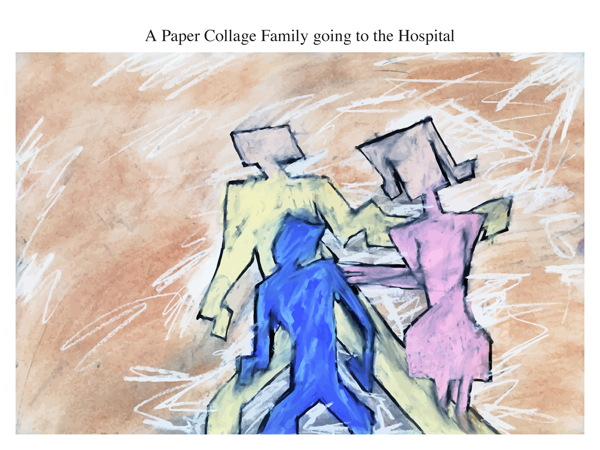 A Paper Collage Family going to the Hospital