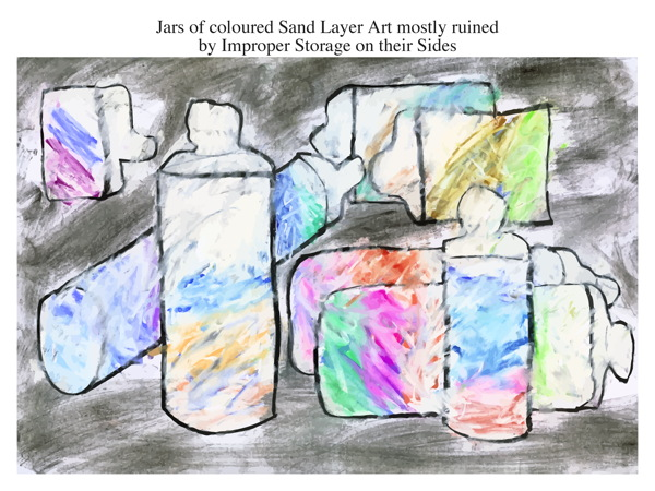 Jars of coloured Sand Layer Art mostly ruined by Improper Storage on their Sides