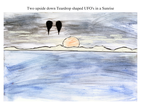 Two upside down Teardrop shaped UFO's in a Sunrise
